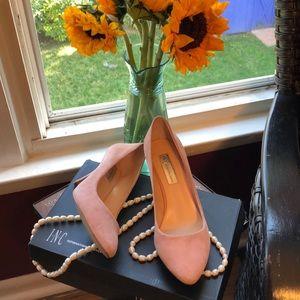 INC pink suede Zita heels